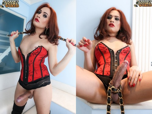 Red Corset & Boots - Ephigenea (Franks-TGirlWorld-2015)