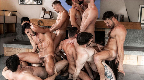 LucasEntertainment – 11Man Bareback Guy Pile