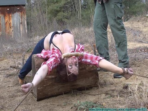 Cherry Doll - Staked out Spread Eagle Back Breaker in the Cold for the Firewood Thief